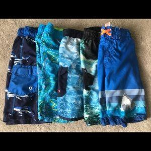 Lot of 5 bathing suit trunks